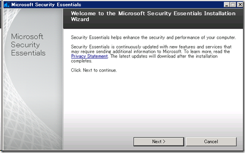 Microsoft Security Essentialsベータ と WHS V1/Vail