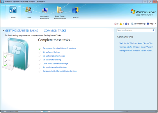 Windows Small Business Server Aurora パブリックベータ