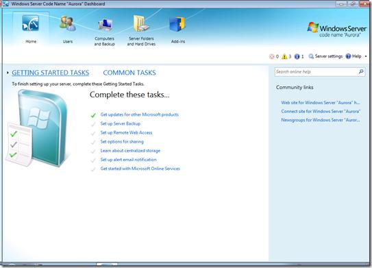 Windows Small Business Server Aurora パブリックベータ
