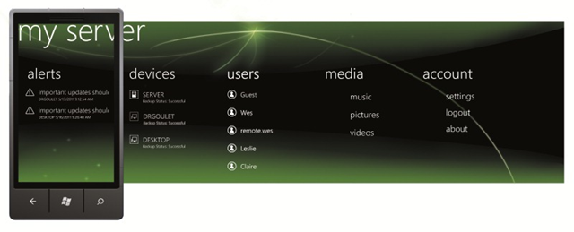 Windows Home Server 2011 とWindows Phone 7